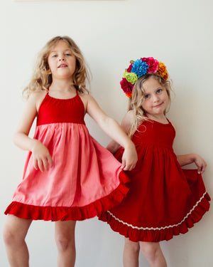 Monaco Dress in Reversible Red and Pink