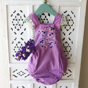 Ravello Romper in Lavender with embroidery detail