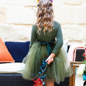 Florence Knit Tutu Dress in Forest Green
