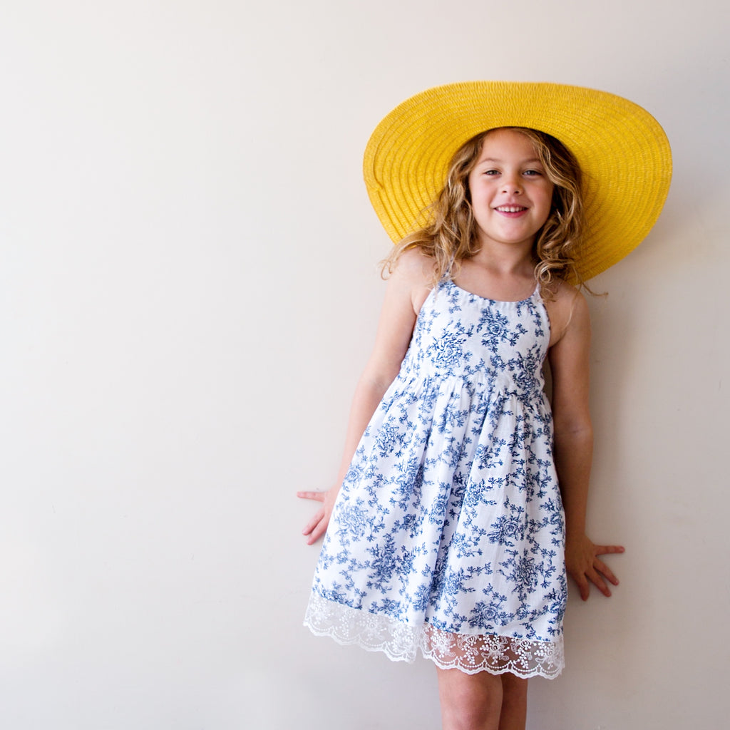 Monaco Dress in Vintage Blue Floral