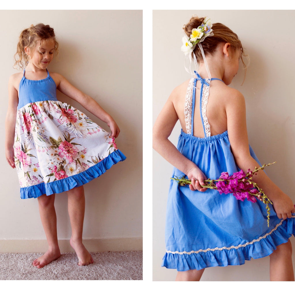 Monaco Dress - In reversible New Floral and blue