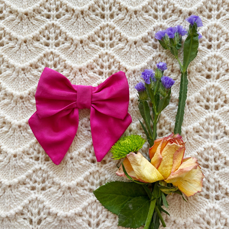 Hot Pink Bow Hair clip - Handmade with love