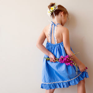 Monaco Dress in Reversible Floral and Blue