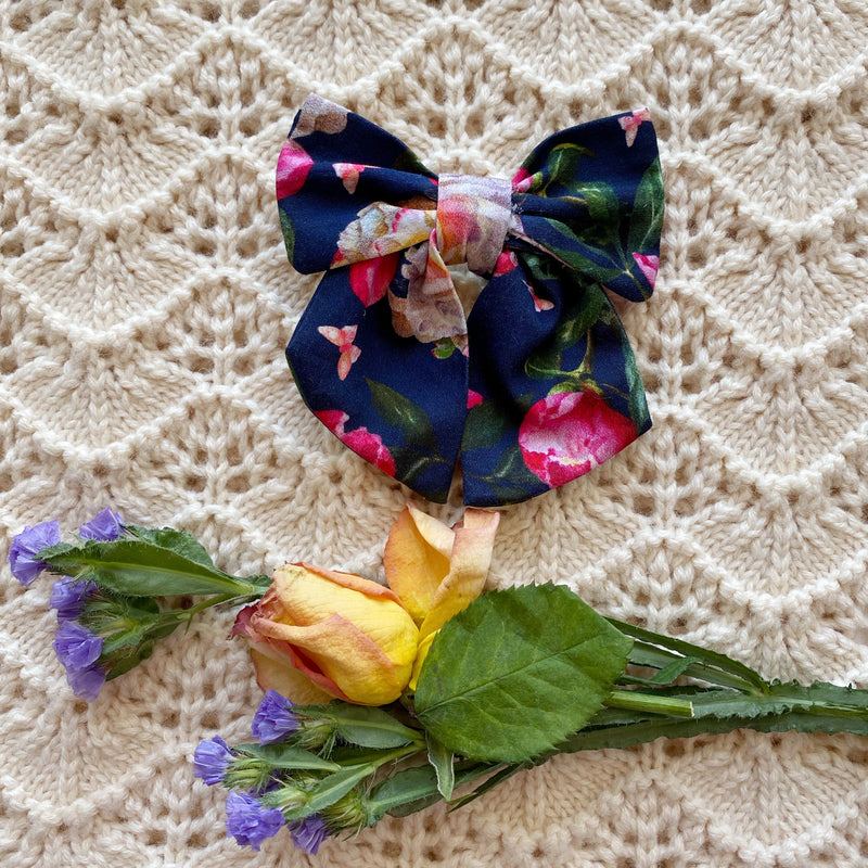 Winter Floral Bow Hair clip - Handmade with love