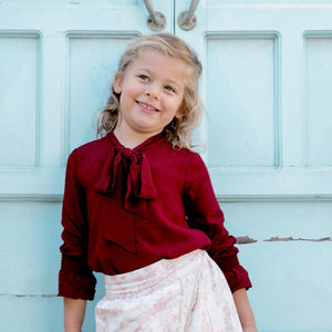 Stromboli Bow Shirt in Burgundy