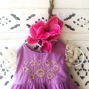 Sicily dress in Lilac with floral embroidery detail