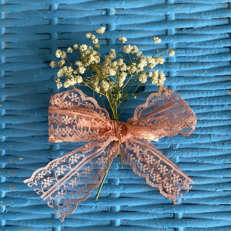 Rabat Bow - Handmade Lace hair bow in Coral Pink