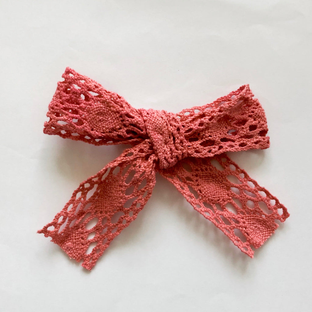Mellieha Bow in Coral - lace handmade bow