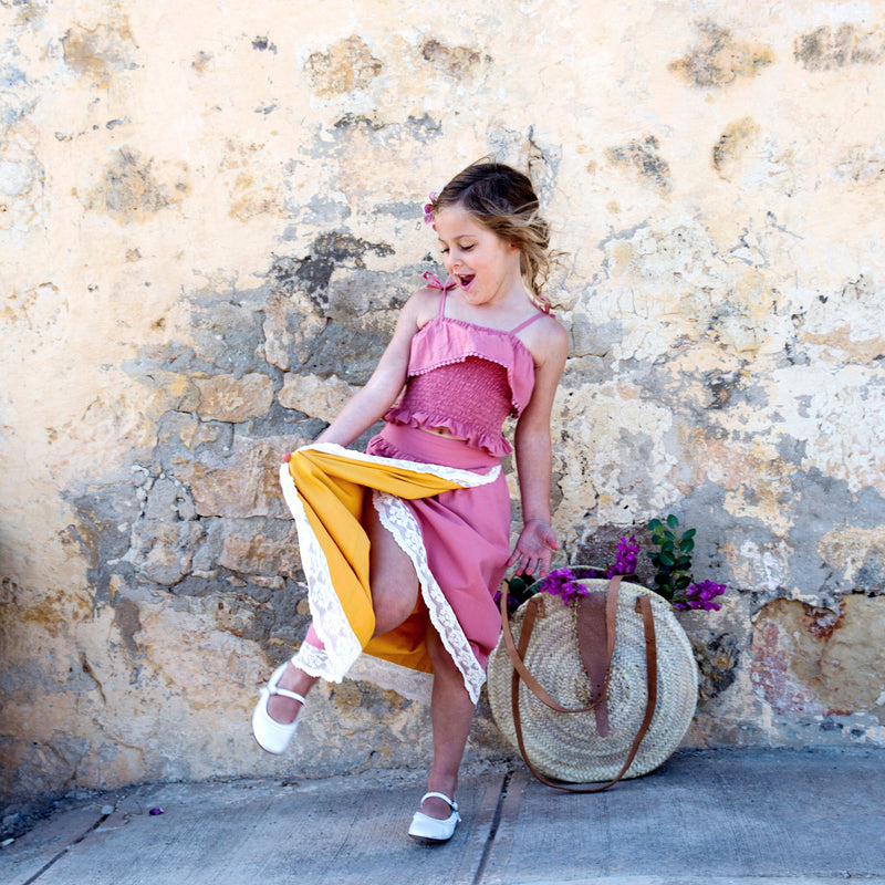 Vulcano Reversible Skirt in Sunflower yellow and Terra-Cotta Pink