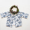 Lipari Reversible Top: In vintage blue floral & White