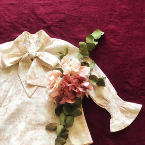 Stromboli Bow Shirt in Blush Vintage floral