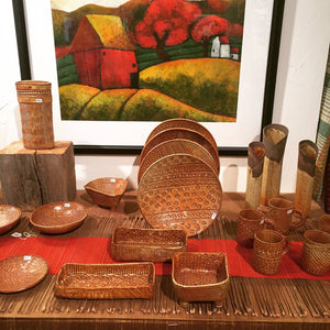 A large section of handmade pottery is available at Brewery Pottery. Both hand-built and thrown pieces are featured in both stoneware and porcelain. Many of the ceramic pieces are textured with lace, others are slip carved. Made by hand to enjoy each day.