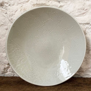 Handmade porcelain blate...a perfect combination of a bowl and a plate. White in color it makes a perfect home for loving cooked meals to enjoy around your table. Made with love at Brewery Pottery.