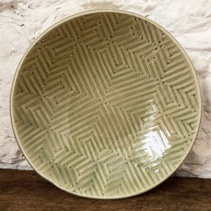 Handmade porcelain blate...a perfect combination of a bowl and a plate. Celadon green in color it makes a perfect home for loving cooked meals to enjoy around your table. Made with love at Brewery Pottery.