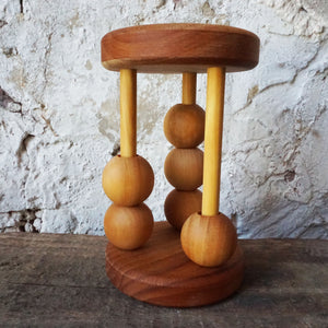 Wooden Clacker Rattle Round Balls