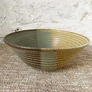Earthy tri-colored thrown Brewery Pottery bowl. Using a handmade bowl is a great way to enjoy and enhance your favorite meals. Whether you're eating alone or serving a friends, using handmade ceramic bowl is a lovely way to showcase your beautifully prepared meal.