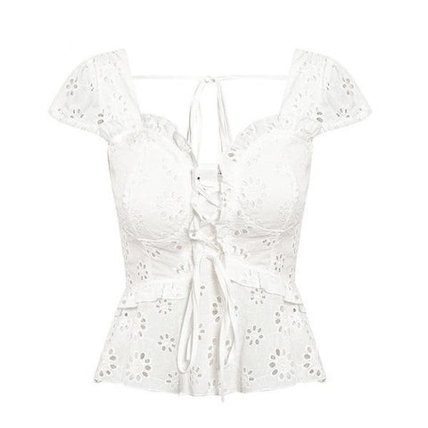 Cotton Eyelet Blouse - ALIA MAXINE