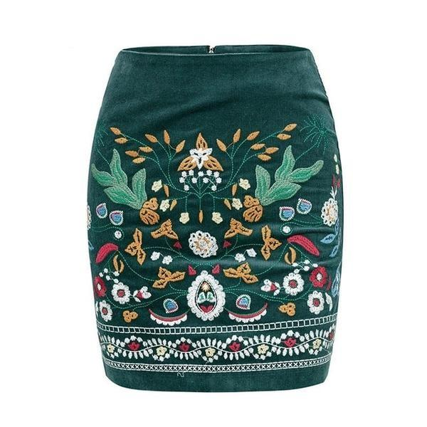 5170ce87cc Green Floral Embroidered Skirt - Skirts | ALIA MAXINE