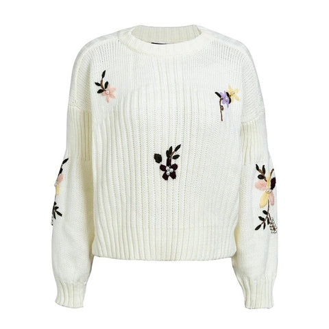 Floral Embroidered Sweater - ALIA MAXINE