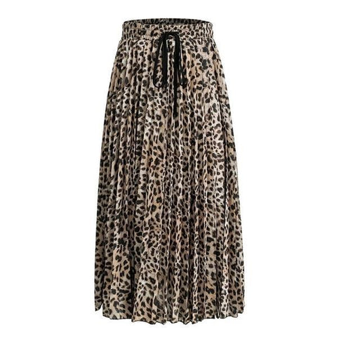 Pleated Leopard Print Skirt - ALIA MAXINE