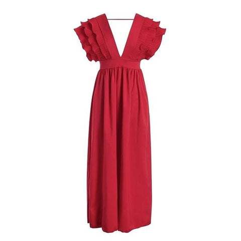 Plus Size Ruffle Maxi Dress - ALIA MAXINE
