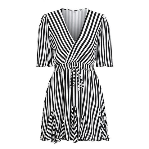 Striped Ruffle Dress - ALIA MAXINE
