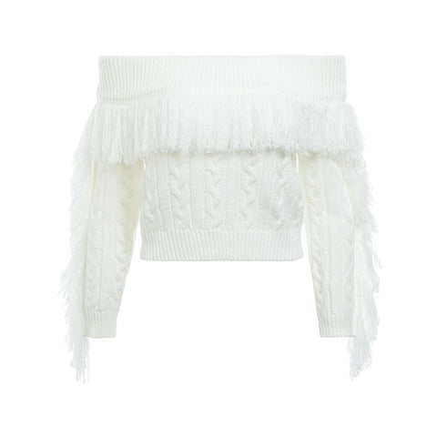 White Fringe Sweater - ALIA MAXINE