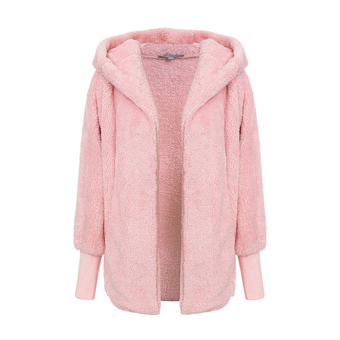 Hooded Faux Shearling Jacket - ALIA MAXINE