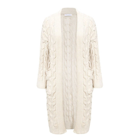 Cable Knit Open Front Cardigan - ALIA MAXINE