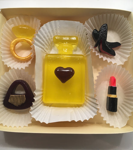 Edible Hard Candy, Perfume Bottle, Diamond Ring, Shoes, Handbag & Lipstick