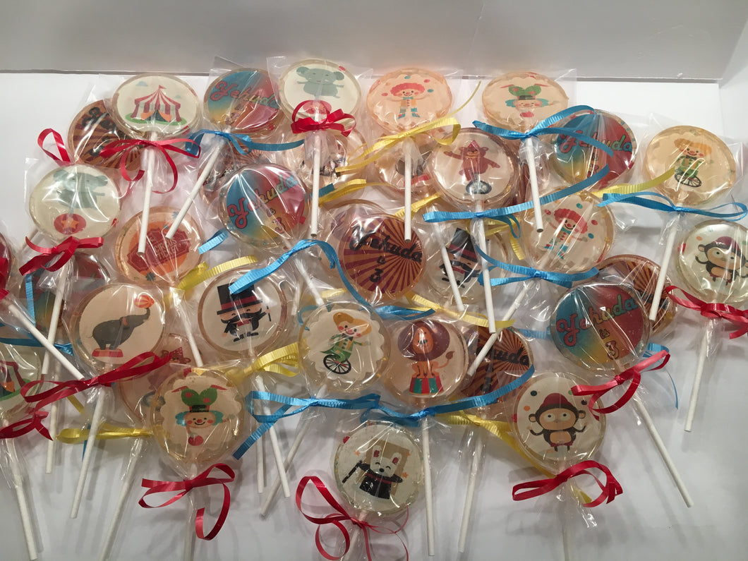 6 Circus Themed Lollipops