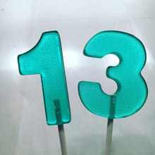 Load image into Gallery viewer, 6 Hard Candy Lollipop Numbers or Cake toppers