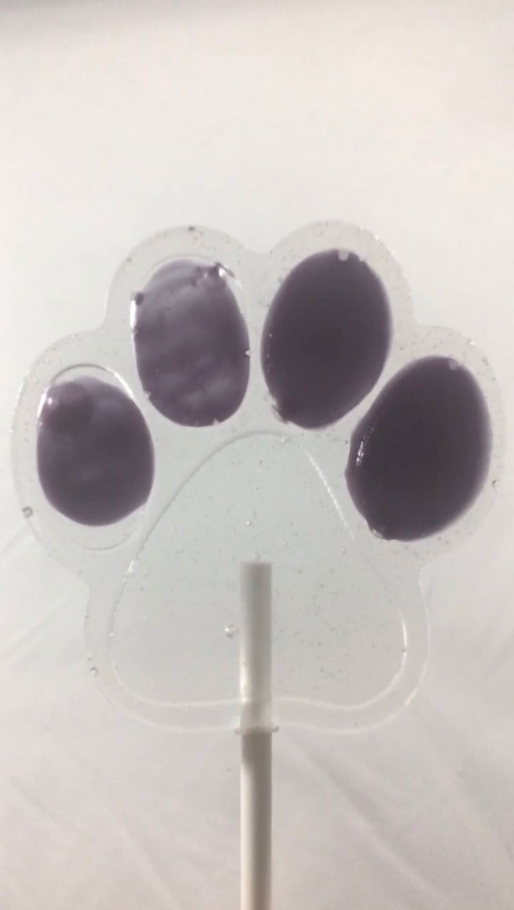 6 Paw Print Hard Candy Lollipops