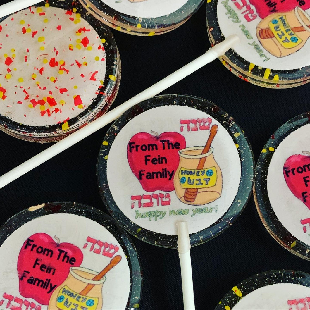 6 Rosh Hashanah Honeycomb, Bee & Personalized Lollipops