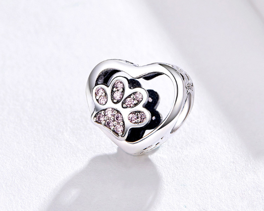 Silver Heart & Paw Charm