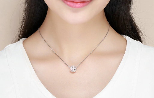 Silver Pink Heart Charm