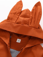 Lightweight Hooded Coat/Jacket with Rabbit Ears (Orange & Pink)