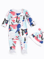 Colourful Unisex Cotton Sleepsuit & Hat Set
