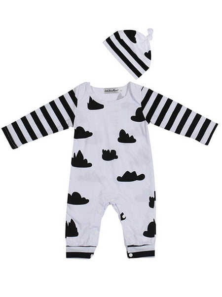 Monochrome Clouds and Stripe Sleepsuit