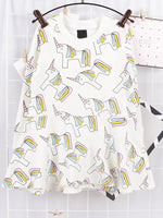 Unicorn Print Long Sleeve Dress
