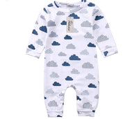 Unisex White Sleepsuit with Gorgeous Cloud Print