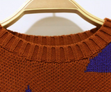 Twinning! Rusty Print Matching Knitted Jumpers