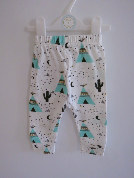 Mint Teepee & Cactus Leggings