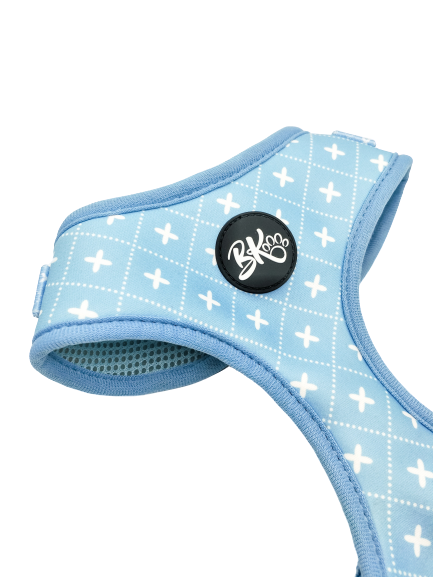 Blue adjustable dog harness - Tic Tac Toe