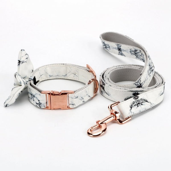 Marble Bow Collar - BK Boutique Pets