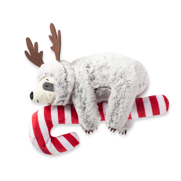 Sloth on a Candycane - Plush Squeaky Christmas Dog Toy