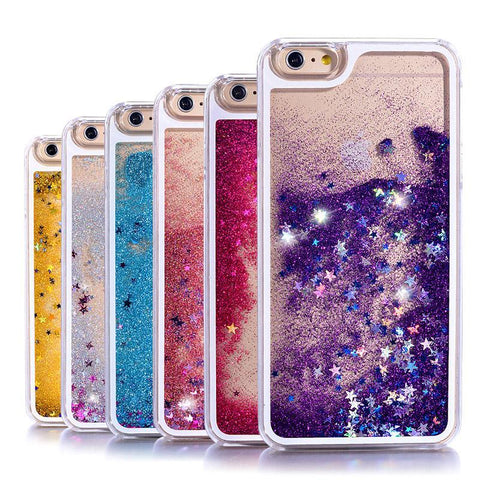 Glitter Stars Liquid Hard Transparent Phone Case - Gadget Canada