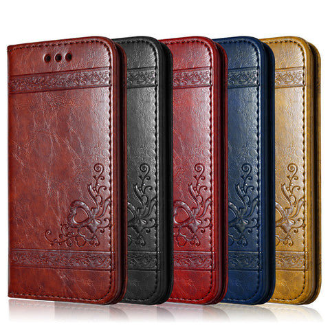 Floral Pattern Leather Flip Phone Case - Gadget Canada