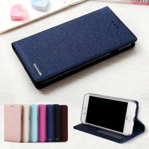 Silk Leather Magnetic Flip Wallet Phone Case - Gadget Canada
