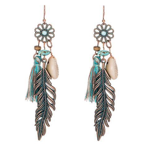 Antique Vintage Bohemian Ethnic Tassel Fringe Leaf Stones Earrings For Women - Gadget Canada